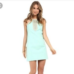 Lilly Pulitzer Adelina Shift Dress Teal Gold 4